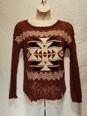Knit Rose Pattern - New HIPPIE ROSE Brandy Wine Knit Pullover Sweater Tribal Pattern Size XL XLarge