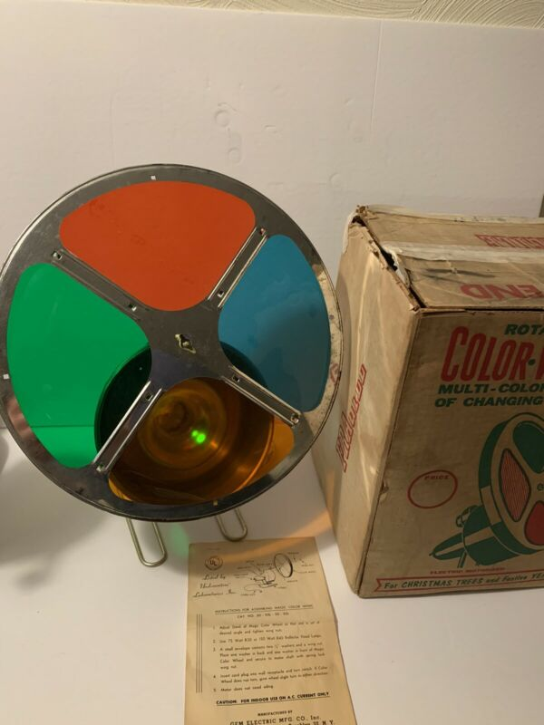 Vintage Gem Electric Rotating Color Wheel Christmas Decoration