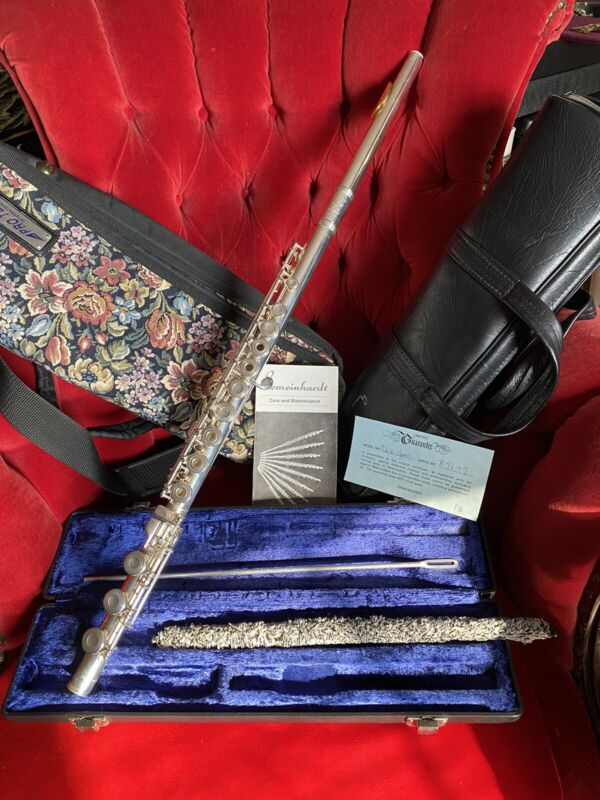 GEMEINHARDT KG CUSTOM SPECIAL 87177 FLUTE SOLID SILVER GOLD MP CASE OPEN HOLE