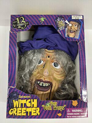 "Gemmy Dept 13 Scareware Animated Witch Greeter Sings ""Evil Ways"" Works"