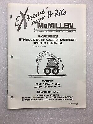 Mcmillen X Series Hydraulic Auger Attachments Operators Manual Models X950
