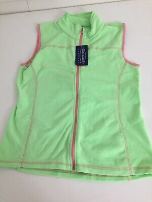 SF Co Womens G Lime Green Pink Trim  Micropolar Fleece Sleeveless Vest  Full Zip
