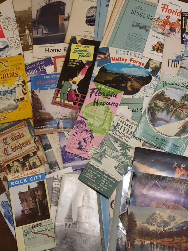 VTG Travel Brochure Maps Giant Postcard Lot , 74 pieces! 40s 50s 60s