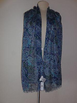 "$48 NWT Charming Charlie Paisley Blue/Metallic Scarf  L 70"" x W20.5"" (Polyester)"