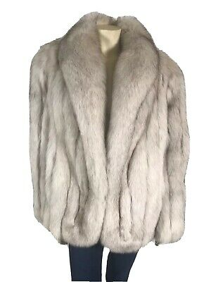 Saga Fox Medium Ivory White Genuine Split Fox Fur Coat (Saga White)