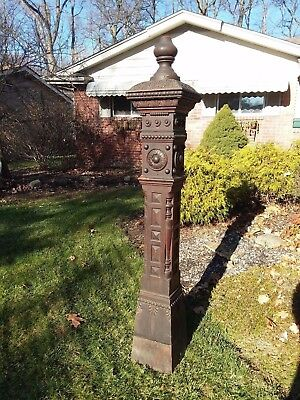 ANTIQUE 6 FOOT OAK NEWEL STAIRWAY POST COLUMN PILLAR ARCHITECTURAL PEDESTAL OLD