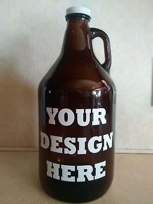 Beer Growlers w/Lid-Your Decal Design or Ours-Bars Lounges Game Rooms Man Caves Beer Growlers