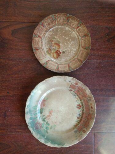 Antique  1909 & 1923 CALENDAR PLATE McNicol IMPERIAL CHINA ROSES