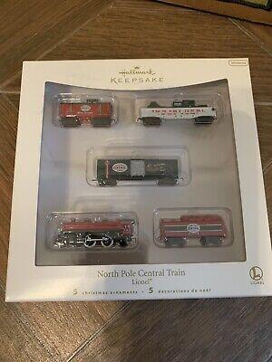 2007 Hallmark Keepsake North Pole Central Train Mini Set Lionel Ornament Set