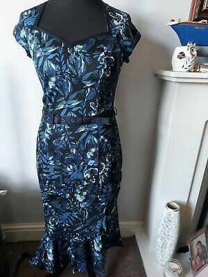 Joe Browns Womens Fitted Vintage Pin Up Style Blue Floral Dress New with Tags 12