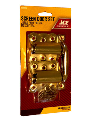screen door hinge handle kit set bright