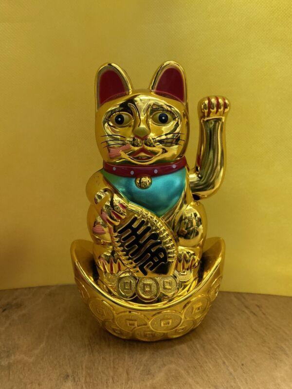 7''Tall Fortune Lucky Gold Cat Kitten Feng Shui Wealth Waving Maneki Beckoning