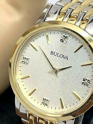 Bulova Women's Watch 98P115 Diamond Dial Two Tone Stainless Steel Dress Quartz