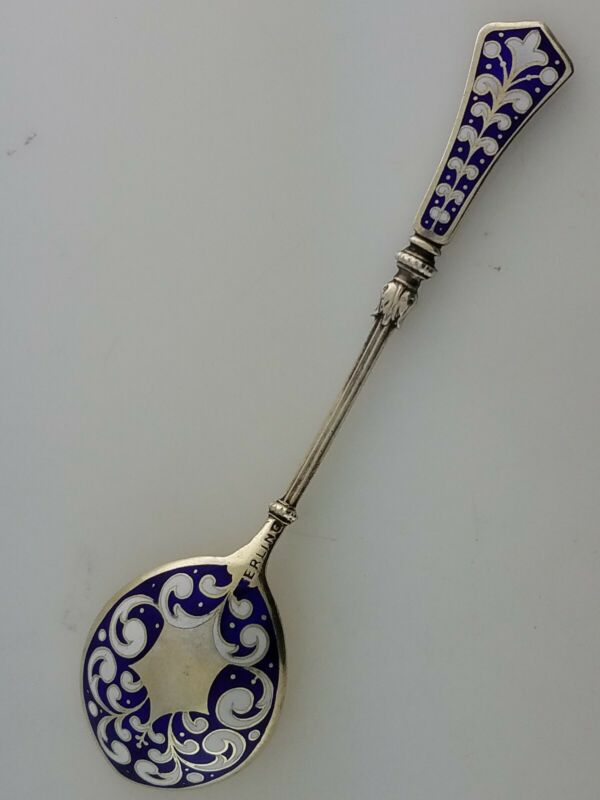 Elaborate Sterling Ornamental Spoon w/ cobalt blue & white enamel handle & bowl