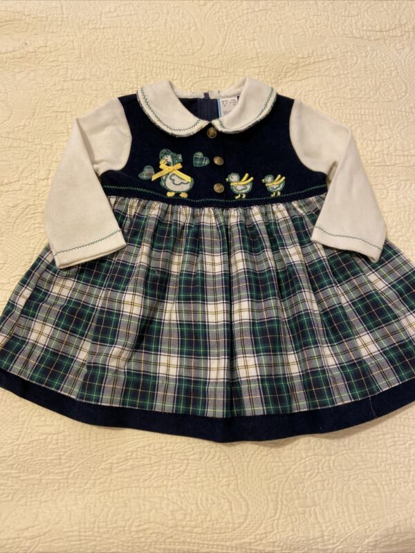 Adorable Vintage Baby Dress Plaid Long Sleeve Embroidered Mother Goose 18M