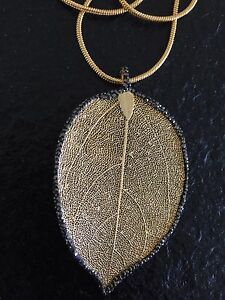 Natural gold-plated leaf with gold plated/grey necklace Rouse Hill The Hills District Preview