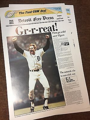 25X Kirk Gibson Detroit Free Press 24X15 Poster 1984 World Series Detroit Tigers