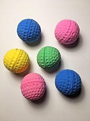 Soft Sponge Foam Golf Ball LOT OF 6 Cat Kitten Colorful Squishy Toy 1.5