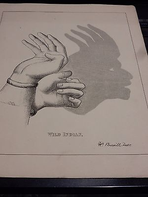NATIVE AMERICAN VICTORIAN HAND SHADOW PUPPET  1880 s original plate 19 x 24 cm