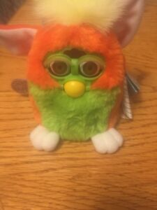 1999 Electronic Furby Baby Orange and Lime Green
