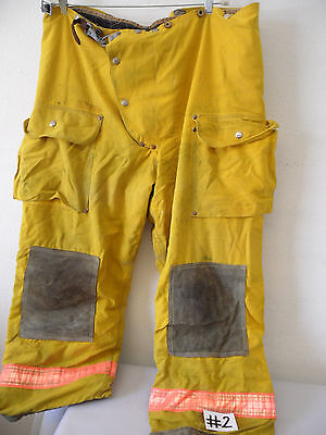 Janesville Firefighter Bunker Pants Turnout Gear Sz 44x28 2 Yellow Costume
