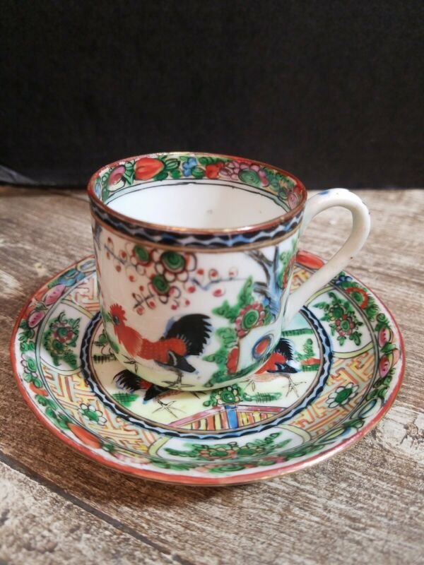 RARE VINTAGE CHINESE ROOSTER COCKEREL FAMILLE PORCELAIN MINATURE CUP PLATE