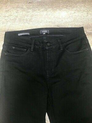 "NYDJ Marilyn Straight Extra Long Black Jeans 33"" Inseam Lift Tuck Size 12"