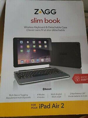 ZAGG Slim Book Ultrathin Case, Detachable Bluetooth Keyboard for iPad Air 2