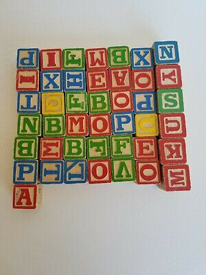 43 VTG Wooden Blocks ABC 1960-70s Alphabet Pictures Animals Letter Learning