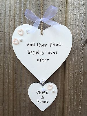 d Plaque Sign Hanging Hearts Wedding Present Gift ShabbyChic (Plaque Sign)