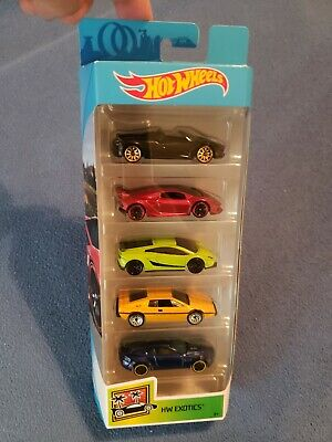 Hot Wheels 2019 HW EXOTICS 5 Pack  Pagani, Lamborghini Sesto Lotus  NEW