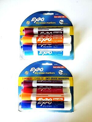 Expo Dry Erase Markers. Low Odor 6 Count Colored Chisel Tip 2 Packs 12