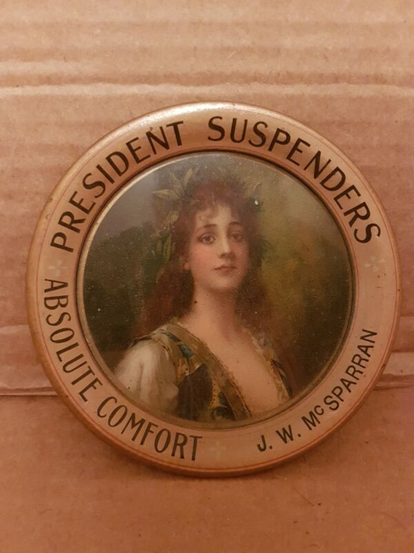 Antique President Suspenders Advertising Tip Tray! J.W. McSparran!