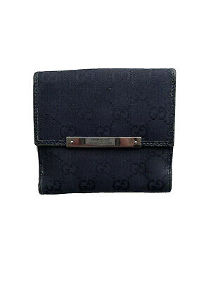 Authentic Black Gucci GG monogram Bifold Wallet With Coin Compartment
