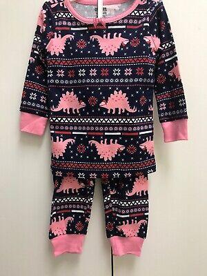 Gymboree Gymmies Pajamas Pj Pink Toddler 12-18 Months Dinosaurs holiday Cotton (Holiday Toddler Pajamas)