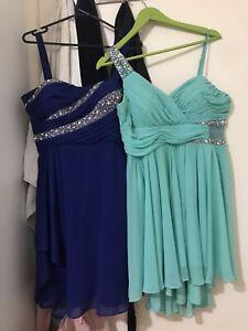 two formal sparkle dresses