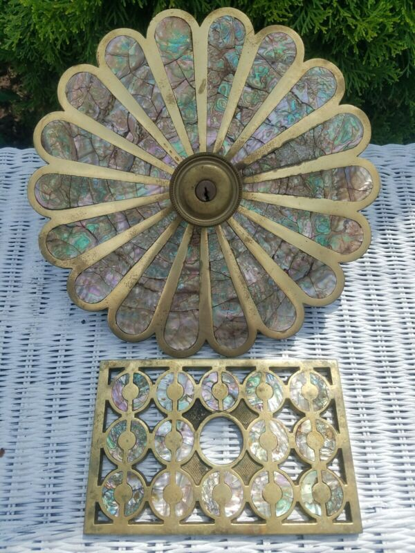 Vintage Solid Brass and Mother of pearl Door knob