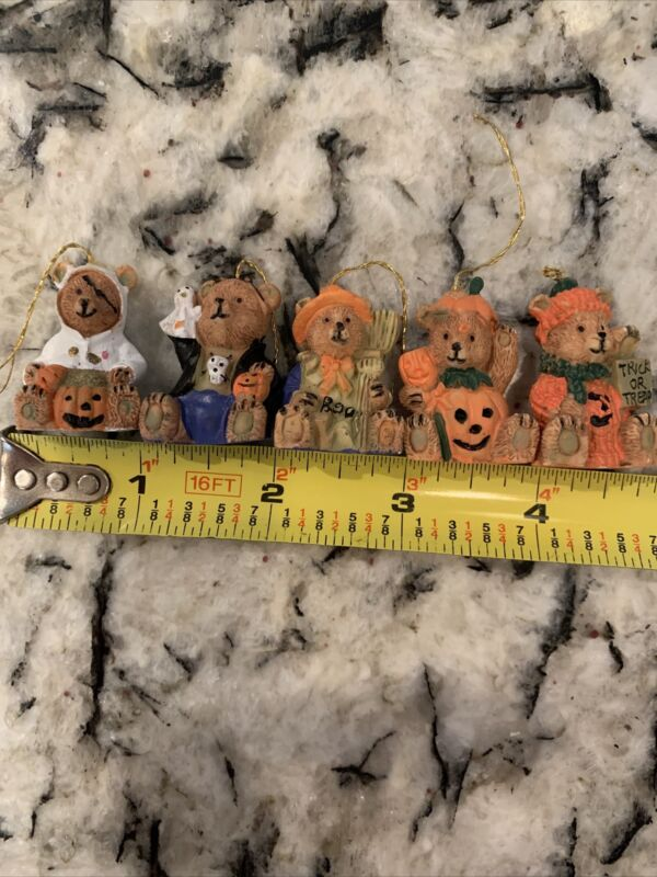 Lot Of 5 Miniature Halloween Mini Tree Ornaments Ghost Pumpkin Bear