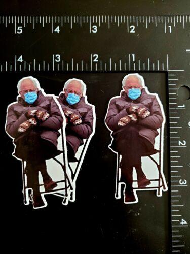 "3-Pack Bernie Sanders Meme Photo Vinyl Sticker 3.25"" x 1.5"" Funny Mittens 2021"