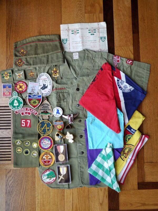 Vtg 50s/60s Lot Boy Scouts BSA Patches Metals Shirt Hat Sash Neckerchiefs NY NJ