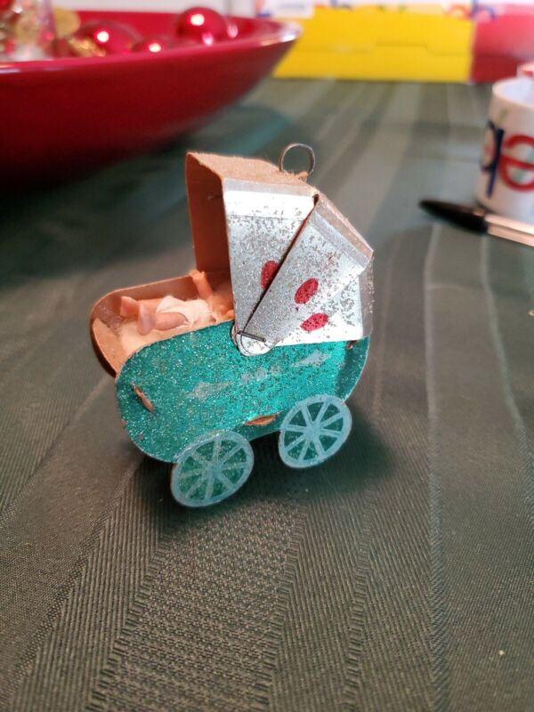 Vintage Christmas Paper Cardboard Sugar Glitter Buggy with Baby Ornament; Rare!