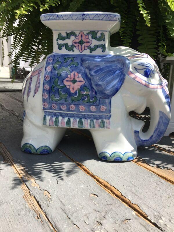 VINTAGE GLAZED CERAMIC ELEPHANT PLANT STAND / FIGURINE