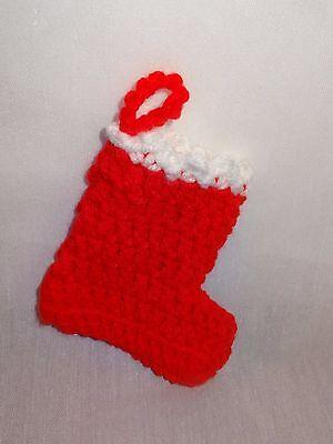 Vintage Christmas Stocking Mini Hand Crochet Holiday Handmade Red White Ornament