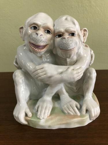 Carl Thieme Dresden German Porcelain Pair Of Monkeys Figurine