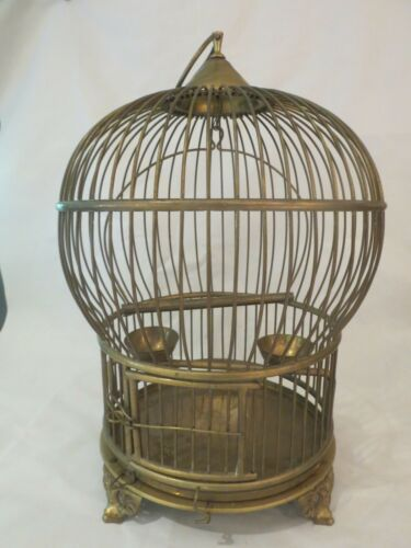 Antique Solid Brass Round Domed Bird Cage w Built In Feeder Cups & Perch Vintage