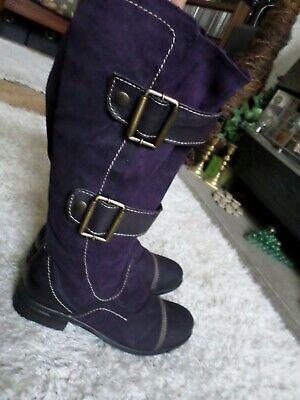 Purple soft leather buckle knee Boots size 6 EU 39 ~ Rock Goth PUNK Boho hippy
