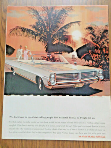 1964 Pontiac Bonneville Convertible Ad  People tell us how Beautiful    AF/VK