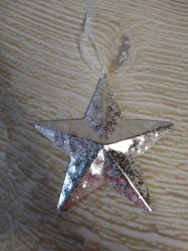 "New! 5"" Tin Winter White BARN STAR CHRISTMAS Tree ORNAMENT Western Decor"