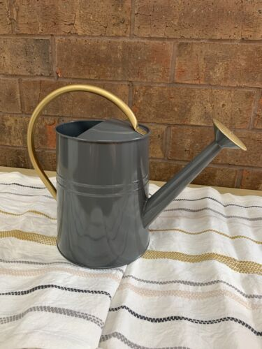 GRAY METAL ADULT WATERING CAN 1 GALLON WITH GOLD HANDLE + SP
