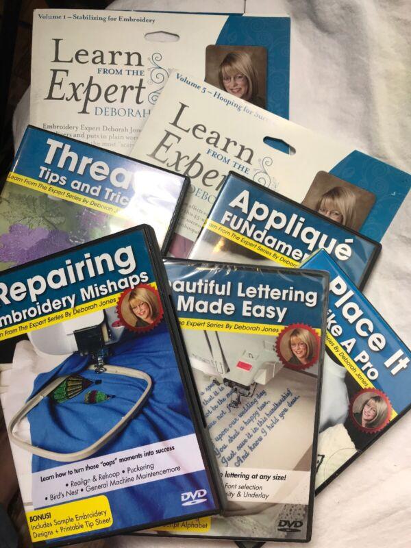 Lot Learn From the Expert Vol 1-2, 4-8 Deborah Jones DVD Series Mach Embroidery